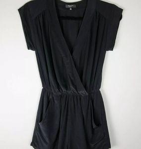 BABATON Aritzia Corbett 100% Silk Black Romper XS